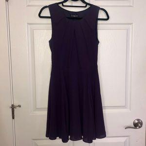 Express Eggplant Fit & Flare Keyhole Dress